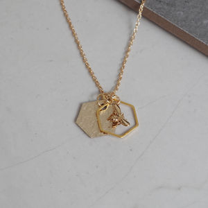 Metallic Leather Hexagon And Bee Charm Necklace