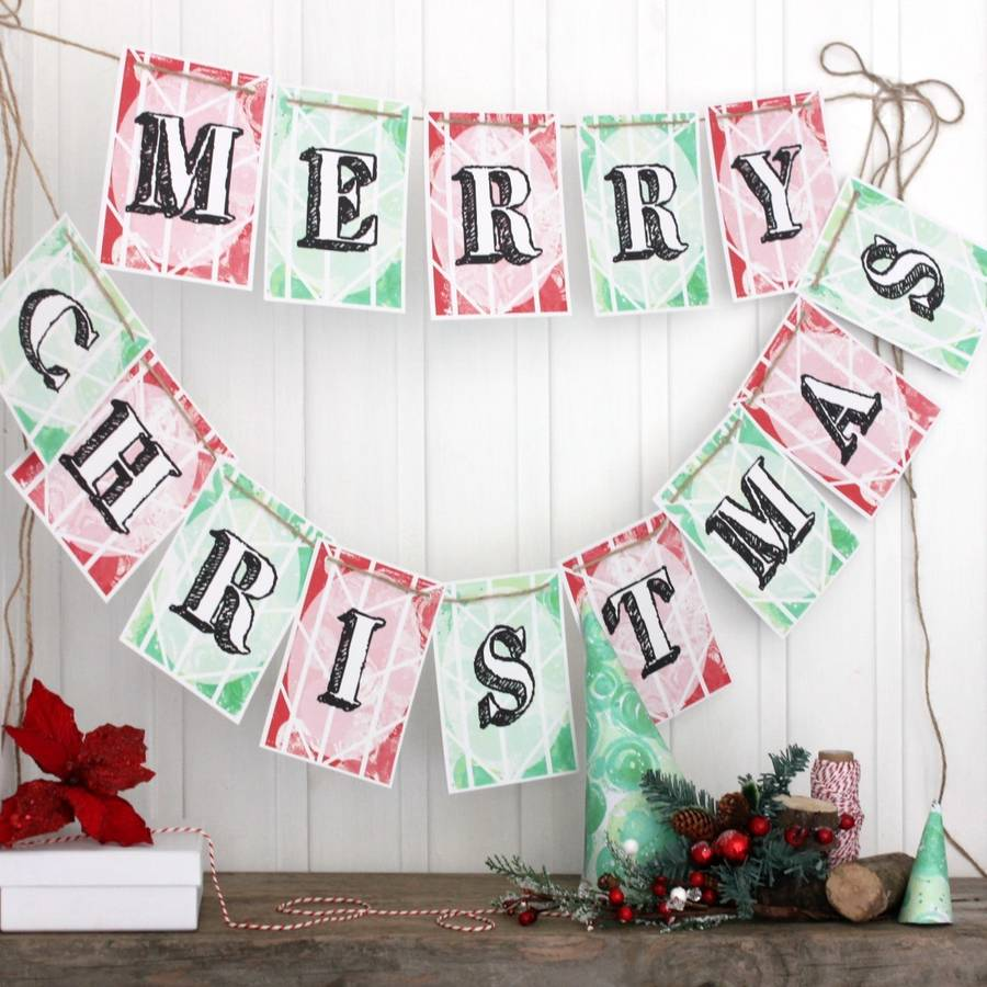 merry christmas bunting christmas decorations - Merry Christmas Decorations