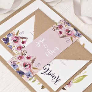 Violet Bohemian Watercolour Floral Wedding Invitation - invitations