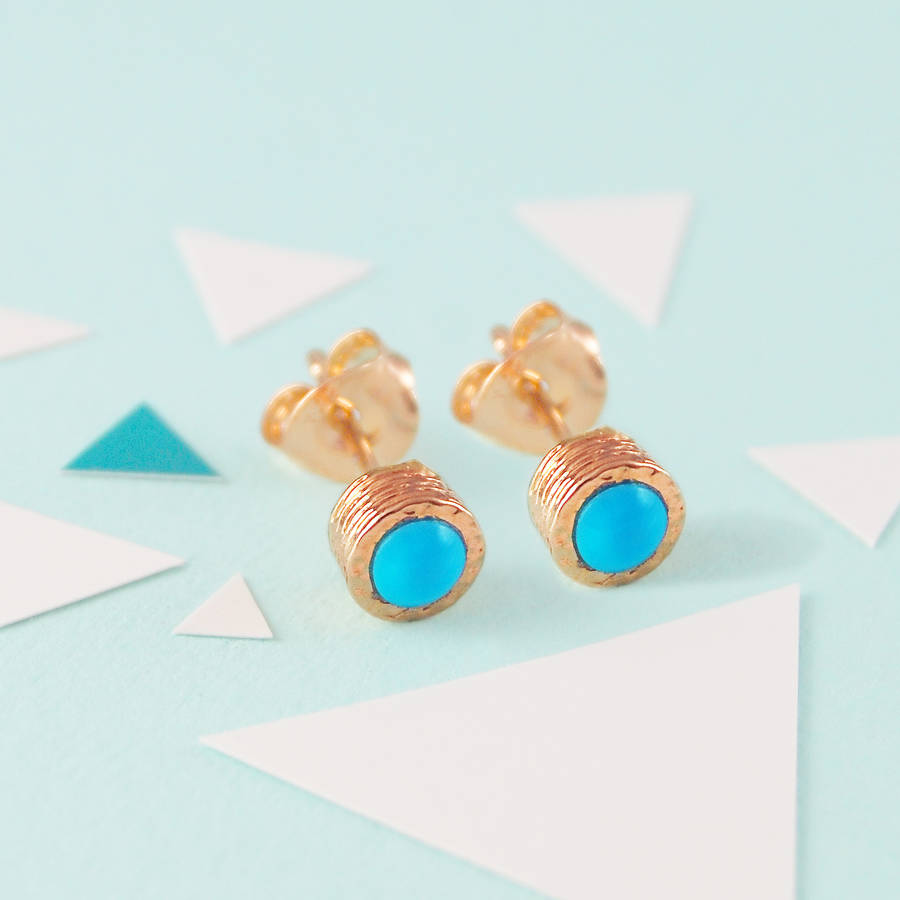 products babc real earrings gold henning turquoise kristina stud
