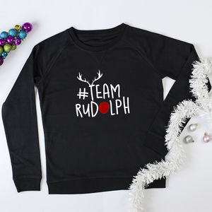 'Team Rudolph' Christmas Slogan Jumper - christmas jumpers