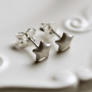 Tiny Silver Star Earrings - earrings