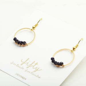 50th Birthday Circle Gemstone Earring Gift For Her