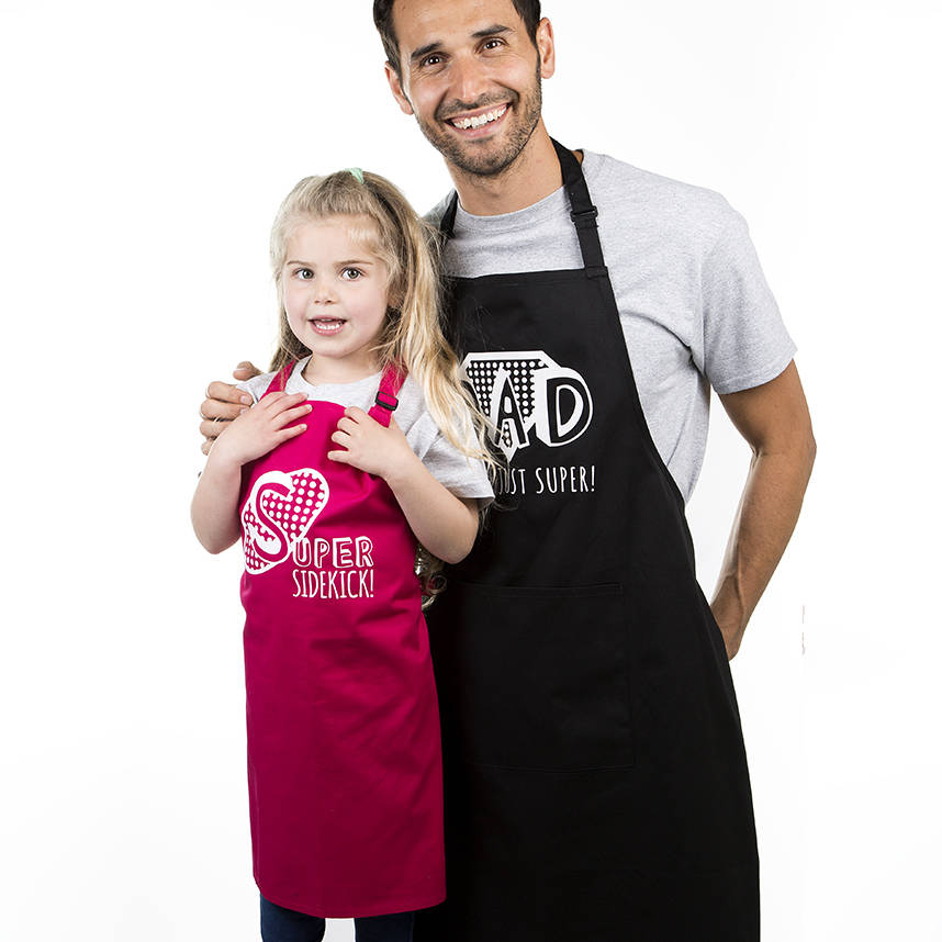 'Dad You're Just Super And Super Sidekick' Apron Set