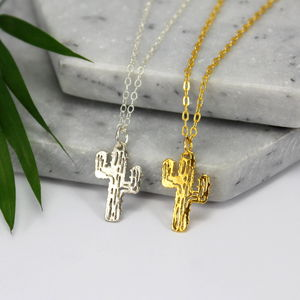 Sterling Silver And Gold Cactus Charm Necklace