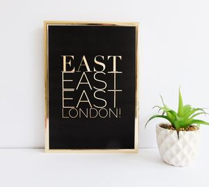 East London Gold Typography Print