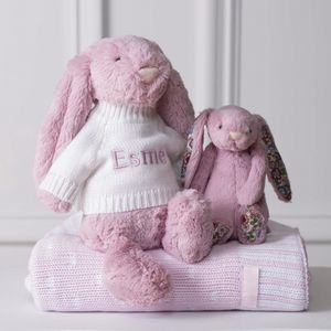 Personalised Cerise Pink Bashful Bunny Soft Toy