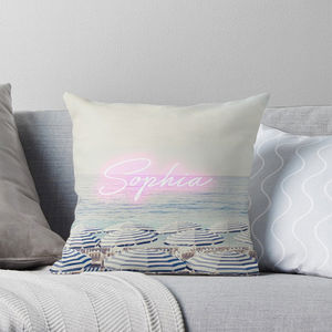 Personalised Name Cushion With Beach Print - living room