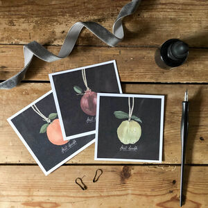 'Fruit Bauble' Square Christmas Postcard Set