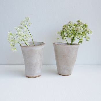 Handmade Simple Ceramic White Flower Vase