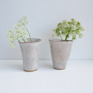 Handmade Simple Ceramic White Flower Vase - vases