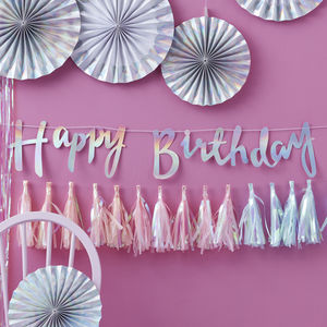 Iridescent Foiled Happy Birthday Bunting Backdrop