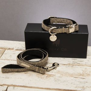The Beaufort Tweed Dog Collar And Lead Set - dogs