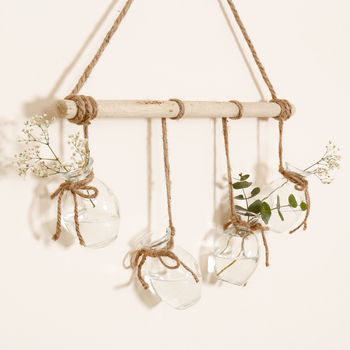 Four Glass Bud Vase Hanging Decoration
