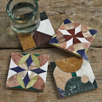 Set Of Four Marble Coasters