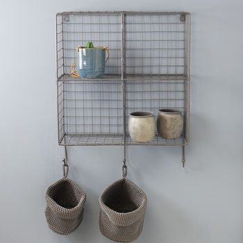 Wire Cube Wall Rack With Hooks