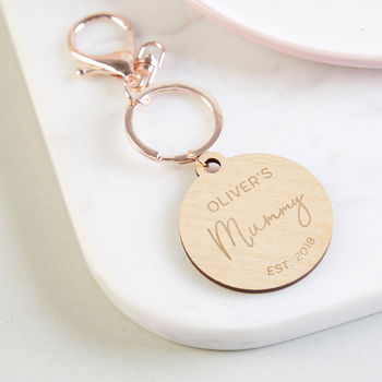 Mummy Gift Personalised Rose Gold Keyring
