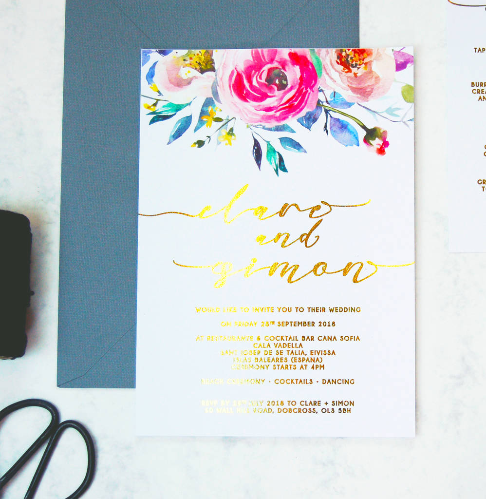gold foil floral watercolour wedding invitation pack by made with