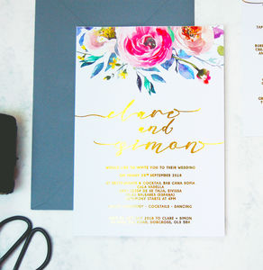 Gold Foil Floral Watercolour Wedding Invitation Pack - invitations
