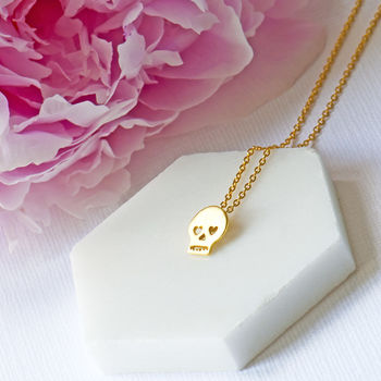 Gold Plated Cinco De Mayo Skull Necklace