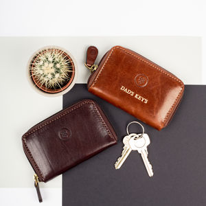 Personalised Leather Key Zipped Key Case. 'The Vinci'