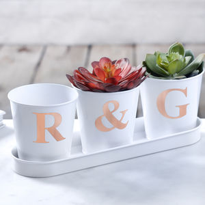 White Pots With Rose Gold Initals - kitchen accessories