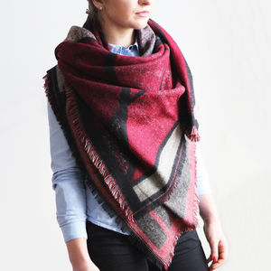 Square Reversible Blanket Shawl - new season accessories