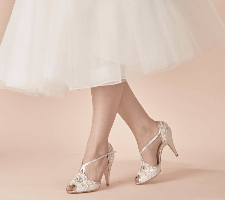 Are you interested in our Ivory lace wedding shoes? With our Ivory and silver shoes you need look no further.