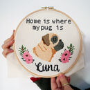 Pug Cross Stitch Craft Kit Personalised