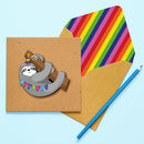 Handmade Happy Birthday Sloth Personalised Card
