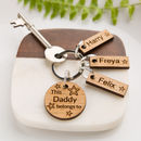 Personalised Oak 'This Daddy Belongs To…' Keyring
