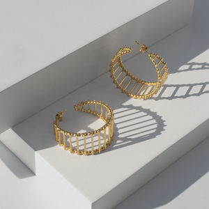 Theda Stripe Hoop Earrings - contemporary jewellery