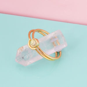 Moonstone Stacking Ring Pair - rings
