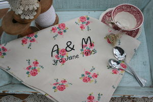 Handmade Personalised Embroidered Tea Towel