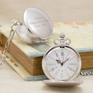 Engraved Vintage Pocket Watch Silver - men's accessories