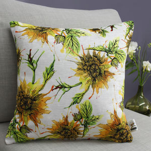 Dahlia Floral Inky Botanical Print Cushion - bedroom