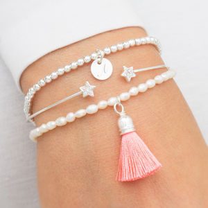 Personalised Silver Pearl And Star Bracelet Set - what's new