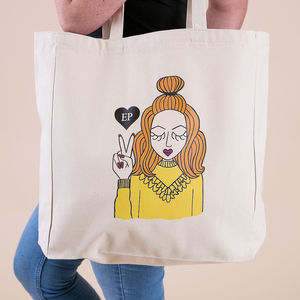 'Miss All Ruffled Up' Personalised Tote Bag