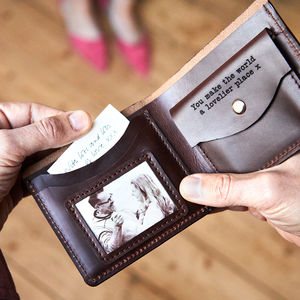 Personalised Wallet With Coin Section Metal Photo - gifts for him