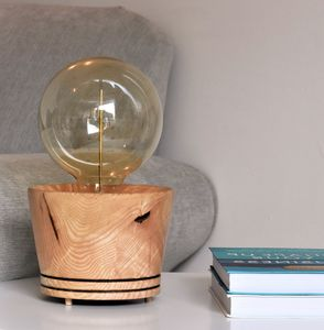 Salcombe Ash Wood Table Lamp With Edison Light Bulb - lighting
