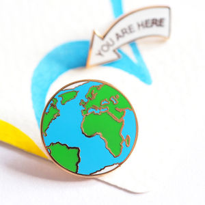 You Are Here Earth Pin Badge - new in jewellery