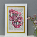 Pink Roses Print Two Name Mounted