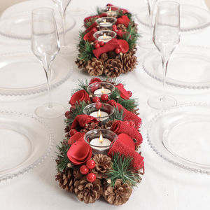 Winter Roses And Berry Christmas Tealights Centrepiece - tableware