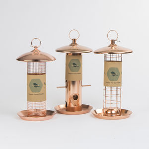 Trio Of Copper Bird Feeders