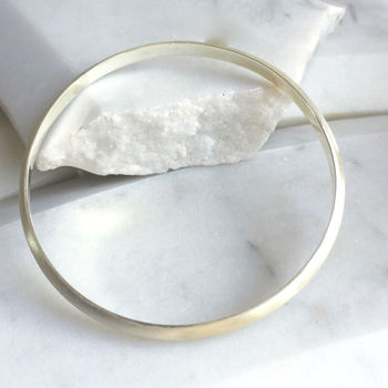 Brushed Solid Silver Domed Bangle