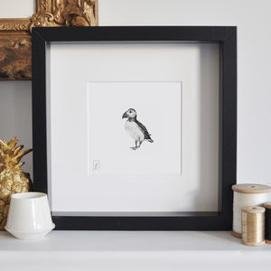 Framed Puffin Print - baby's room