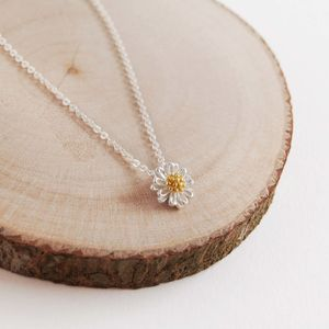 Delicate Silver Daisy Necklace - flower girl gifts