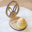 Personalised Easter Wooden Ornament Egg And Bunny