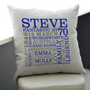 grey cushion - navy blue and grey text