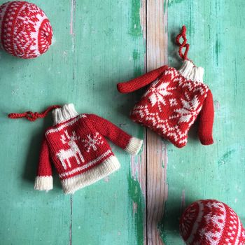 Knitted Nordic Red And White Jumper Decorations